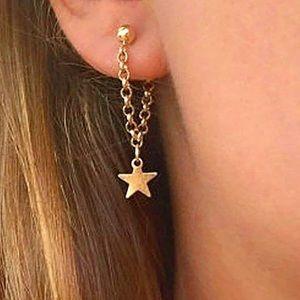 Gold Dangling Star Drop Earrings